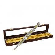 Кубачинский серебряный кинжал в подарочном футляре (сталь - 65Х13) арт.4161