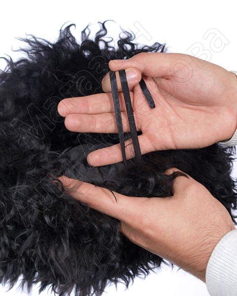 Кавказская папаха чабанская черная из натуральной козлиной шкуры арт.2138