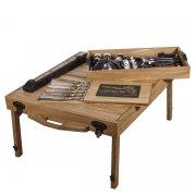 Эксклюзивный набор для пикника в кейсе-столе (массив дуба) арт.5957