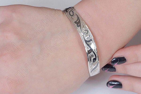 Серебряный кубачинский браслет с чернением арт.575