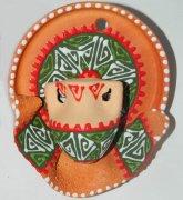 """Сувенирная глиняная тарелочка ручной работы """"Кувшинчик"""" красно-зеленая"""