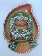 """Сувенирная глиняная тарелочка ручной работы """"Большой кувшин"""" в ассортименте зеленая"""