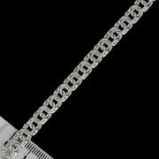 """Кубачинский серебряный браслет ручной работы """"Бисмарк"""" 22 см (ширина 0,8 см) арт.5898"""