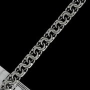 """Кубачинский серебряный браслет ручной работы """"Бисмарк"""" оксидированный 18 см (ширина 1 см) арт.4958"""