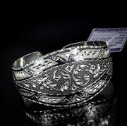 Серебряный кубачинский браслет с алмазной гранью №6
