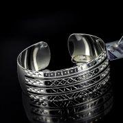 Серебряный кубачинский браслет с алмазной гранью №7