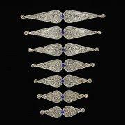 Нагрудники мельхиоровые ручной работы на женский костюм мастера Магомеда Идрисова (7 элементов) арт.5292