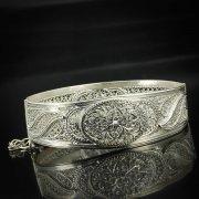 Кубачинский серебряный браслет с филигранью арт.5609