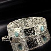 Кубачинский серебряный браслет белый (бирюза, чернение) арт.4606