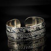 Серебряный кубачинский браслет с чернением арт.518