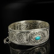 Кубачинский серебряный браслет с филигранью (камень - бирюза) арт.6330