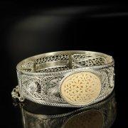 Кубачинский серебряный браслет с филигранью (вставка из слоновой кости) арт.6333