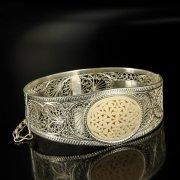 Кубачинский серебряный браслет с филигранью (вставка из слоновой кости) арт.6334