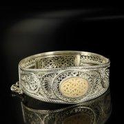 Кубачинский серебряный браслет с филигранью (вставка из слоновой кости) арт.6335