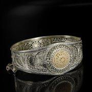 Кубачинский серебряный браслет с филигранью (вставка из слоновой кости) арт.6337
