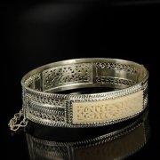 Кубачинский серебряный браслет с филигранью (вставка из слоновой кости) арт.6338