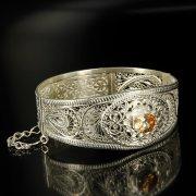 Кубачинский серебряный браслет с филигранью (камень - кварц) арт.6341