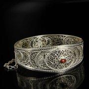Кубачинский серебряный браслет с филигранью (камень - агат) арт.6344