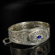 Кубачинский серебряный браслет с филигранью (камень - агат) арт.6348