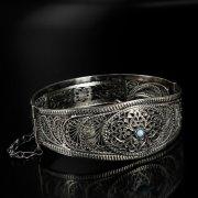 Кубачинский серебряный браслет с филигранью (камень - бирюза) арт.6353