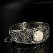 Кубачинский серебряный браслет с филигранью (вставка из слоновой кости) арт.6355