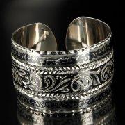 Серебряный кубачинский браслет с чернением арт.6361