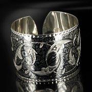 Серебряный кубачинский браслет широкий арт.6365
