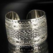Серебряный кубачинский браслет с гравировкой арт.6371