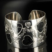 Серебряный кубачинский браслет с чернением арт.6373