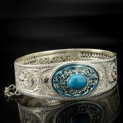Кубачинский серебряный браслет с филигранью (камень - бирюза) арт.6883