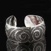 Серебряный кубачинский браслет с гравировкой арт.7676