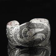 Серебряный кубачинский браслет с гравировкой арт.7678