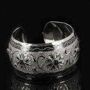 Серебряный кубачинский браслет с чернением арт.7684