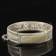 Кубачинский серебряный браслет с филигранью (вставка из слоновой кости) арт.8097