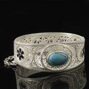Кубачинский серебряный браслет с филигранью (камень - бирюза) арт.8101