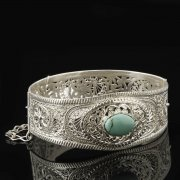 Кубачинский серебряный браслет с филигранью (камень - бирюза) арт.8102