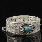 Кубачинский серебряный браслет с филигранью (камень - бирюза) арт.8104