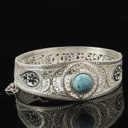 Кубачинский серебряный браслет с филигранью (камень - бирюза) арт.8106