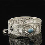 Кубачинский серебряный браслет с филигранью (камень - бирюза) арт.8109