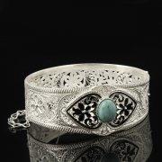 Кубачинский серебряный браслет с филигранью (камень - бирюза) арт.8111