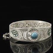 Кубачинский серебряный браслет с филигранью (камень - бирюза) арт.8112