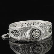 Кубачинский серебряный браслет с филигранью арт.8128