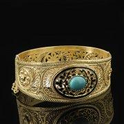 Кубачинский серебряный браслет с позолотой (камень - бирюза) арт.8129
