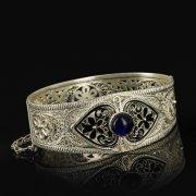 Кубачинский серебряный браслет с филигранью (камень - искусственный) арт.9482