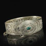 Кубачинский серебряный браслет с филигранью (камень - бирюза) арт.9484