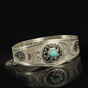 Кубачинский серебряный браслет с филигранью (камень - бирюза) арт.9486