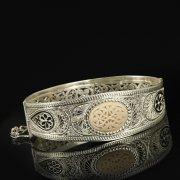 Кубачинский серебряный браслет с филигранью (слоновая кость) арт.9488