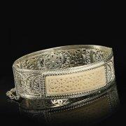 Кубачинский серебряный браслет с филигранью (слоновая кость) арт.9491