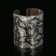Серебряный кубачинский браслет с чернением арт.9523