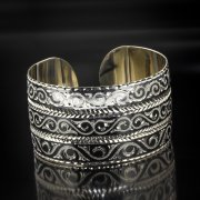 Серебряный кубачинский браслет с алмазной гранью арт.5361
